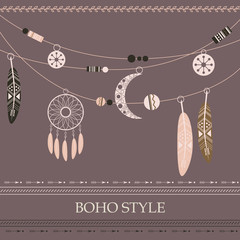 Boho style background with arrows, beads, dreamcatcher, feathers