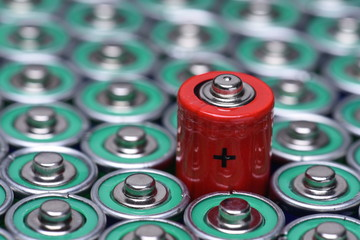 Alkaline battery AAA size with selective focus on single battery
