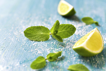 Lime and mint leaves.