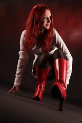 Mädchen mit roten Stiefel
