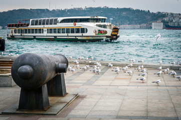 Ferry boat crossing Bosphorus in Istanbul, Turkey