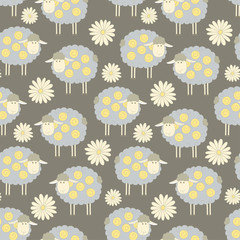 Seamless pattern background with sheeps and flowers