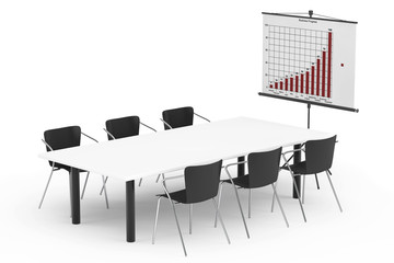Projection Screen with Business Chart, Table and Chairs
