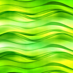 Beautiful lemon green wave background for design. Modern abstract motion bright digital illustration.