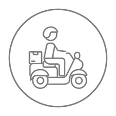 Man carrying goods on bike line icon.