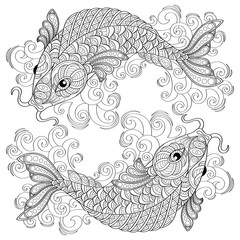 Koi fish. Chinese carps. Adult antistress coloring page. Black and white hand drawn doodle for coloring book