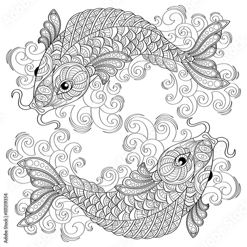 koi fish chinese carps adult antistress coloring page black and white hand drawn
