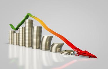Monnaie et flèche décroissante