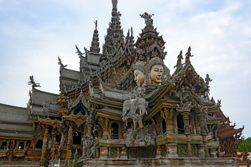 The Wood Sanctuary of Truth in Pattaya, Chonburi, Thailand.
