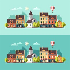 Urban landscape. Cityscape. Vector illustration, flat style.