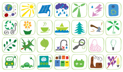 Icons on the theme of ecology/set of vector illustration icons theme ecology