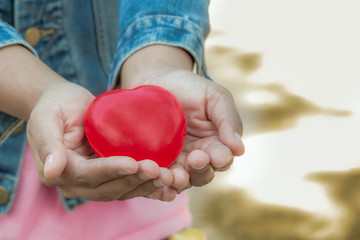 Red heart in the hand for valentine 's day