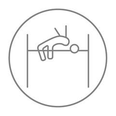 High jump line icon.