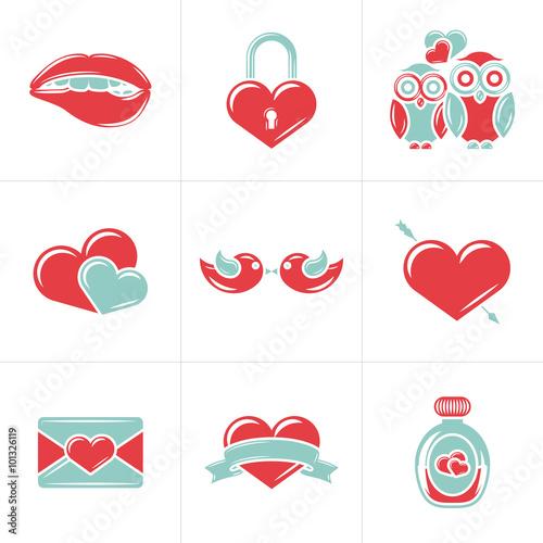 Set Of St Valentines Day Vector Design Elements Love Wedding Or