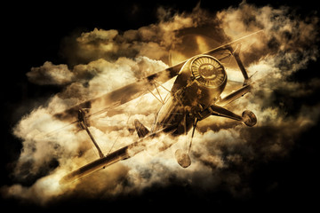 Vintage style image of a World War. Old biplane in the sky.