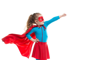 Superhero child (girl), isolated.