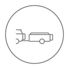 Car with trailer line icon.