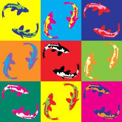 Retro pop art illustration fish koi