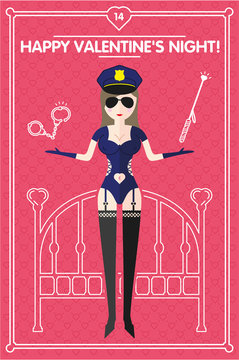 Vector illustration. Valentine day. Sexy fetish police woman on the hearts pattern pink background. The 14th February.