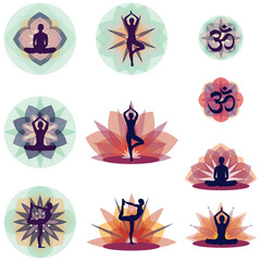 Yoga Silhouettes With Flower Background - Vector Illustration Set EPS10