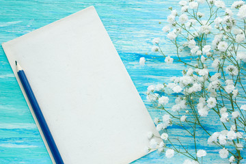 Letter flowers.  Blue wood background. Top view. mockup