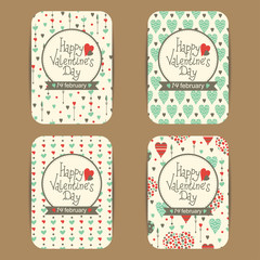 Set of happy valentine's day cards with hearts