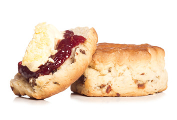 Dorset scone with clotted cream on top