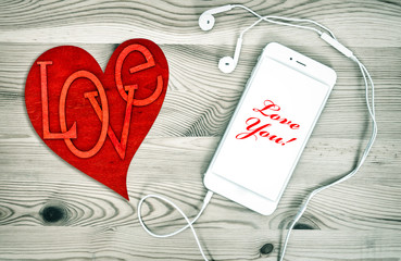 Digital phone with red heart. Love and Valentines Day