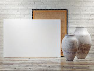Concept mock up poster, minimalism design,3d rendering