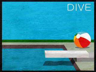 design with pool and diving board on wood grain texture