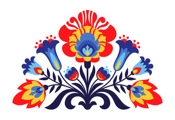 Polish folk inspired flowers Wall mural