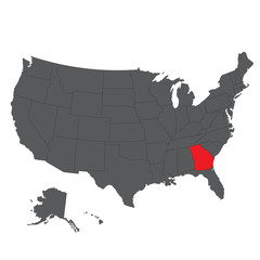 Georgia red map on gray USA map vector