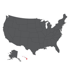 Hawaii red map on gray USA map vector