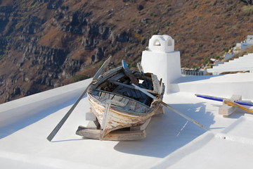 Old boat on roof