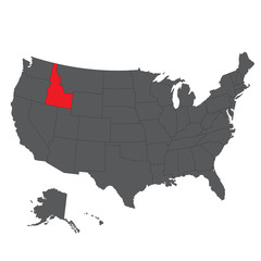 Idaho red map on gray USA map vector