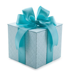 turquoise gift box with ribbon and bow isolated on a white backg