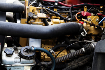 Truck Engine Details Under Hood Hoses And Wiring