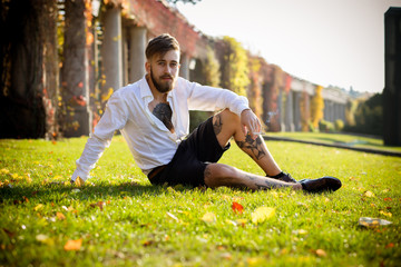 Hipster Guy in the park