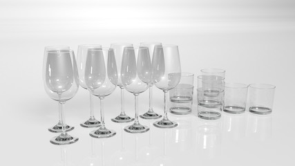 Drinking glasses, water and wine glasses isolated on white background