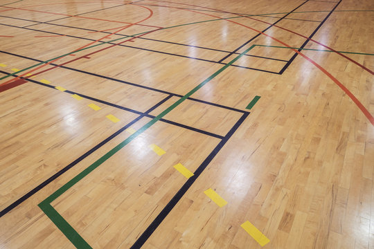 Retro indoor gymnasium floor