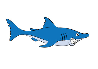 illustration of a cheerful animation shark for the children's book