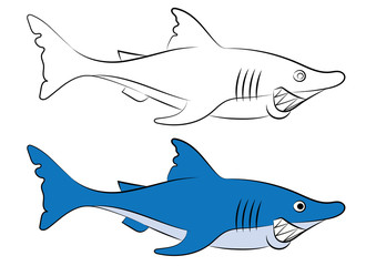 illustration of an animation shark for the coloring book