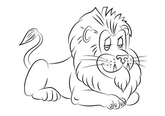 illustration of an animation Lion for the coloring book