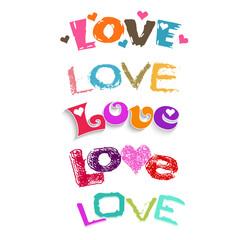Love set of words. Vector logo design