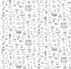 Seamless background hand drawn doodle Ireland set Vector Travel illustration Sketchy Irish traditional food icons Republic of Ireland elements Flag Map Celtic Cross Knot Castle Leprechaum Shamrock