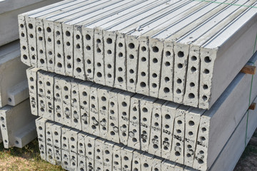 Stock of plank concrete precast at construction site