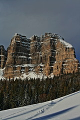 Breccia Peak and Cliffs in winter on Togwotee Pass between Dubois and the Grand Tetons National Park / Jackson Hole (valley) where the Absaroka and Wind River ranges meet