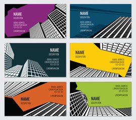 Real estate business card vector template. Skyscraper and downtown, street town, urban property illustration