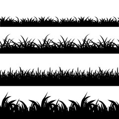 Wall Mural - Seamless grass black silhouette vector set. Landscape nature, plant and field monochrome illustration