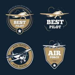 Aircraft and air transportation labels. Air tourism vector emblems. Emblem aircraft, flight label adventure illustration